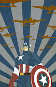 Marvel Comics Framed Prints - The Captain Framed Print by Dave Drake