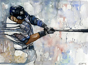 Baseball Art Mixed Media Posters - The Captain Derek Jeter Poster by Michael  Pattison