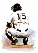 Images Drawings Framed Prints - The Captain  Thurman Munson Framed Print by Iconic Images Art Gallery David Pucciarelli