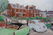 Fraternity Painting Prints - The Car Movers of Phi Sigma Kappa OSU 43 E. 15th Ave Print by Frank Hunter