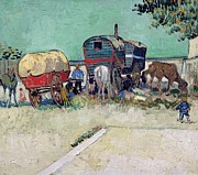 Wagons Posters - The Caravans   Gypsy Encampment near Arles Poster by Vincent Van Gogh