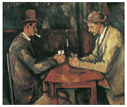 Cards Vintage Painting Posters - The Card Players Poster by Paul Cezanne