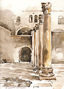 Jerusalem Paintings - The Cardo in Jerusalem by Anna Lobovikov-Katz