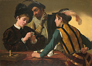 Caravaggio Painting Metal Prints - The Cardsharps Metal Print by Caravaggio