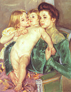 Caress Posters - The Caress Poster by Marry Cassatt