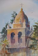 Buildings Paintings - The Carmel Mission by John  Svenson