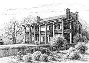 Pen And Ink Framed Prints Drawings - The Carnton Plantation in Franklin Tennessee by Janet King