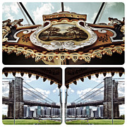 Brooklyn Bridge Park Digital Art - The Carousel and The Bridge by Natasha Marco