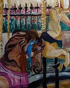 Suzanne Willis Metal Prints - The Carousel Horses Metal Print by Suzanne Willis