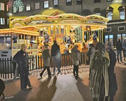 Crowds  Prints - The carousel Print by Malcolm Warrilow