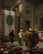 Textiles Framed Prints - The Carpet Merchant Framed Print by Jean Leon Gerome