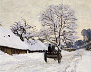 Family Art Framed Prints - The Carriage- The Road to Honfleur under Snow Framed Print by Claude Monet
