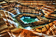 Stairs Pyrography Posters - The Cascading Falls - Fort Worth Water Garden  Poster by Brian Orlovich
