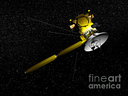 Three Dimensional Posters - The Cassini Spacecraft In Orbit Poster by Elena Duvernay