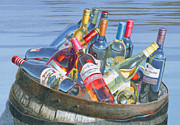 Wine Barrel Paintings - The Castaways by Will Enns