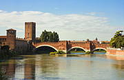 Famous Bridge Posters - The Castelvecchio Bridge in Verona Poster by Kiril Stanchev