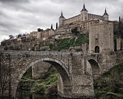 Castilla Posters - The Castle and the Bridge Poster by Joan Carroll