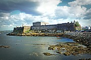 Galicia Photo Prints - The Castle Fort on the Harbor Print by Mary Machare