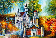 Surreal Landscape Painting Metal Prints - The castle of 4 seasons Metal Print by Leonid Afremov