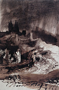 Atmospheric Drawings Prints - The Castle Print by Victor Hugo
