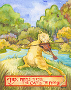Nursery Rhyme Painting Metal Prints - The Cat and the Fiddle Metal Print by Lora Serra