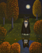 Wooden Painting Metal Prints - The cat and the moon Metal Print by Veikko Suikkanen