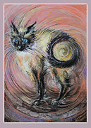 Spiral Pastels Framed Prints - The Cat Called Eve Framed Print by Natalia Lvova