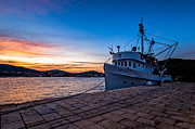 Fishing Boat Sunset Framed Prints - The Cat Framed Print by Davorin Mance