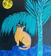 Cat And Moon Paintings - The Cat in the Moon by Judy Via-Wolff