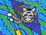 Canoe Drawings Metal Prints - The Cat Rescuer Metal Print by Anita Dale Livaditis
