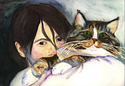 Love The Animal Painting Prints - The Cat Who Owns Her Print by Kerrie  Hubbard