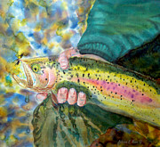 Fishing Flies Paintings - The Catch by Anderson R Moore