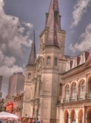 St Louis Cathedral Framed Prints - The Cathedral Framed Print by David Bearden