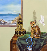 Indian Vase Posters - The cats meow Poster by Susan Culver