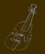 Orchestra Digital Art Metal Prints - The Cello Metal Print by Michelle Calkins