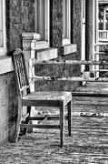 Front Porches Framed Prints - The Chair BW Framed Print by JC Findley