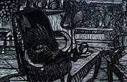Linoleum Print Drawings - The Chair Of My Dreams by Charlie Spear