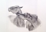Wild Horses Drawings Originals - The Challenge by Joette Snyder