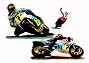 Motorcycle Racing Art Framed Prints - The Champions Farewell  Barry Sheene Framed Print by Iconic Images Art Gallery David Pucciarelli