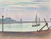 Sailing Paintings - The channel at Gravelines in the evening by Georges Seurat