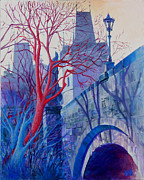 City Skylines Paintings - The Charles Bridge Blues by Marina Gnetetsky