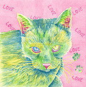 Furry Felines Painting Prints - The Charmer Print by Rhonda Leonard
