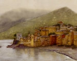 Nan Wright Prints - The Charming Town of Camogli Italy Print by Nan Wright