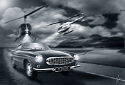 Car Chase Art - The Chase 2 by Linton Hart