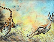 Cheetah Pastels Framed Prints - The Chase is On Framed Print by Nathan Cole