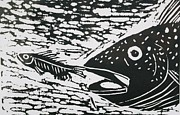 Lino Print Originals - The Chase by Jeanette Jobson