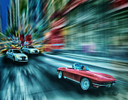 Car Chase Art - The Chase by Ron Pearl