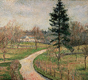 Autumn Landscape Painting Prints - The Chateau at Busagny Print by Camille Pissarro