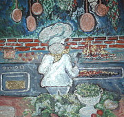 Lettuce Mixed Media Prints - The Chef Is Too Busy To Talk Print by Barbara LeMaster