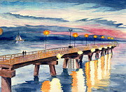 Melly Terpening Paintings - The Chesapeake Bay Pier by Melly Terpening
